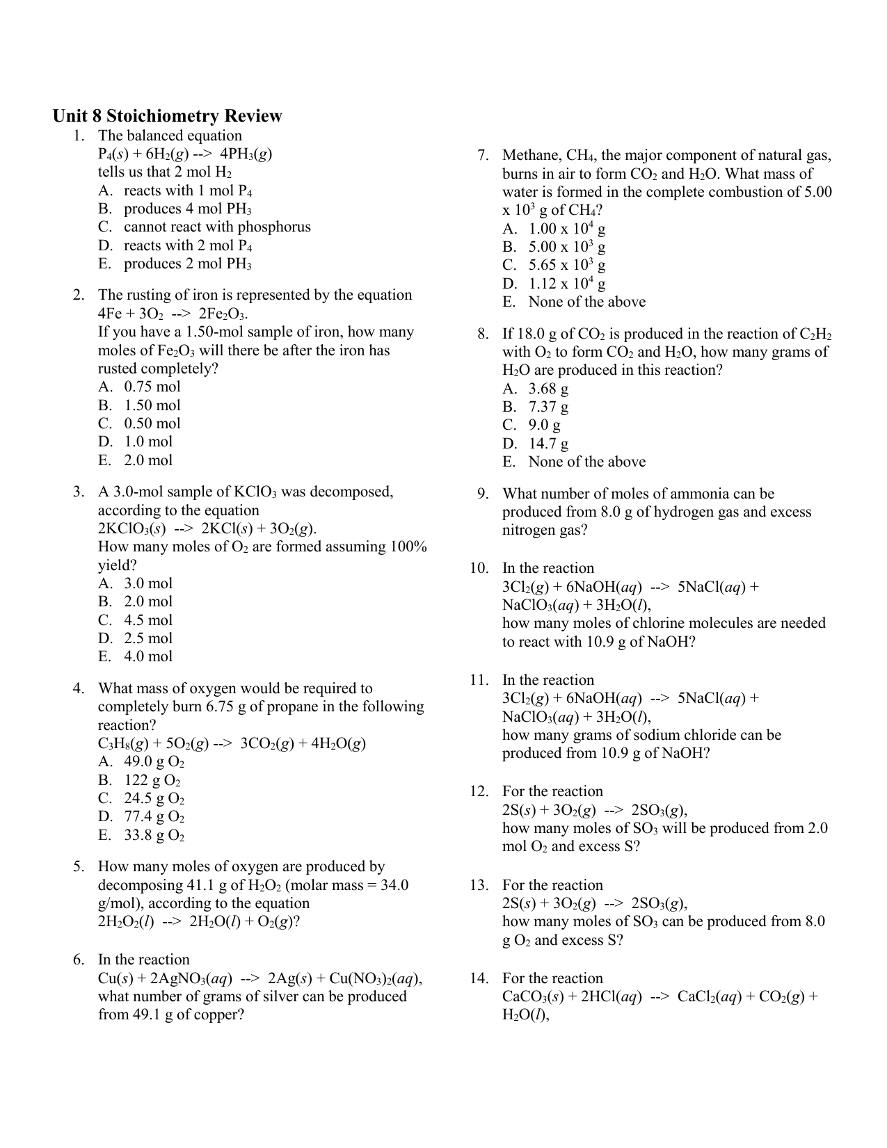 Chemical Equations Worksheet Answers Symbols