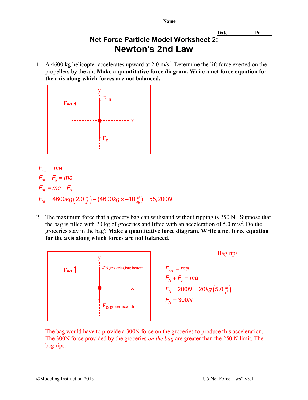 Printables Of Unit V Worksheet 2 Kinematics Newton S 2nd