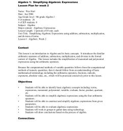 Lesson Plan: Simplifying Algebraic Expressions [ 1651 x 1275 Pixel ]