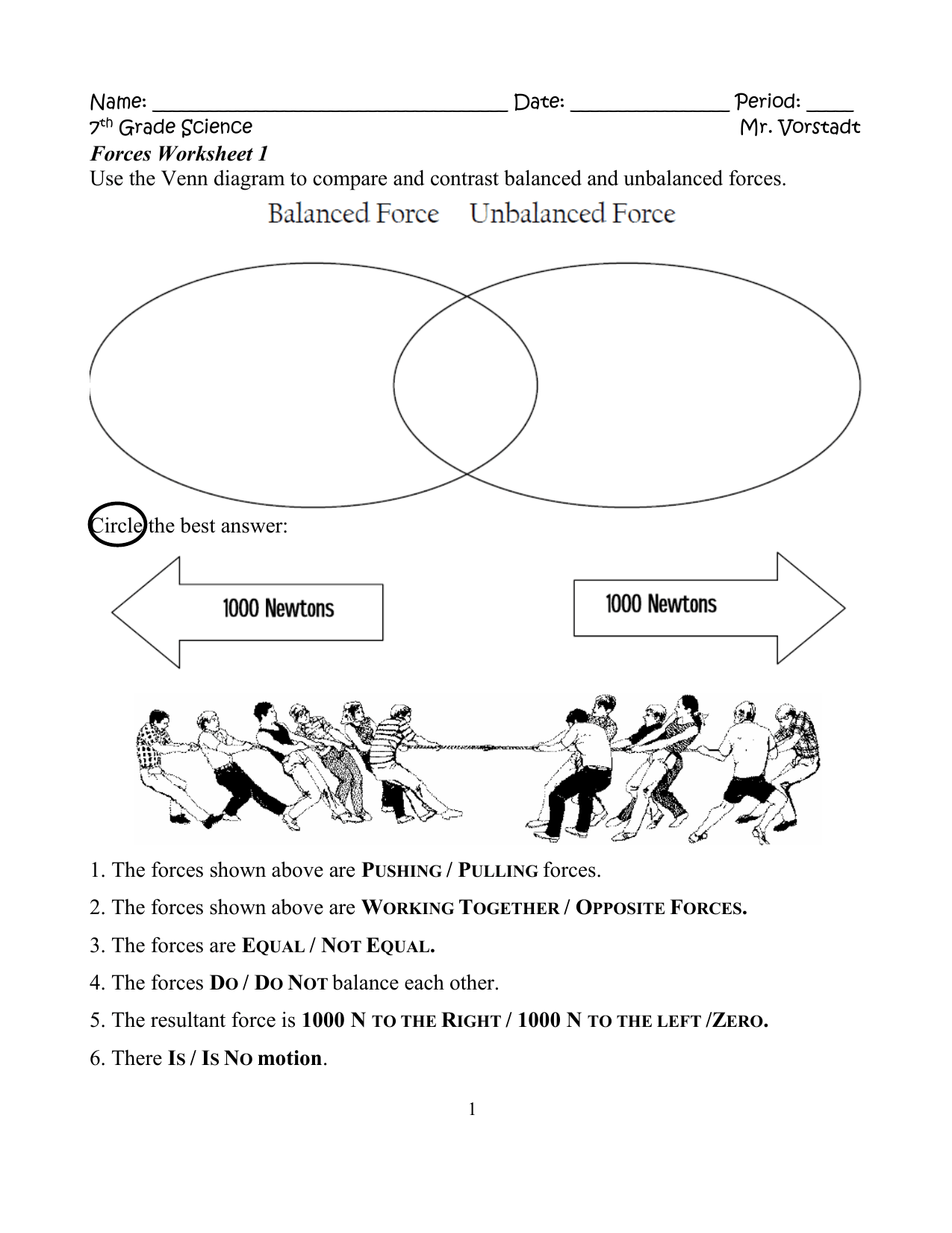 Balanced Vs Unbalanced Forces Worksheet