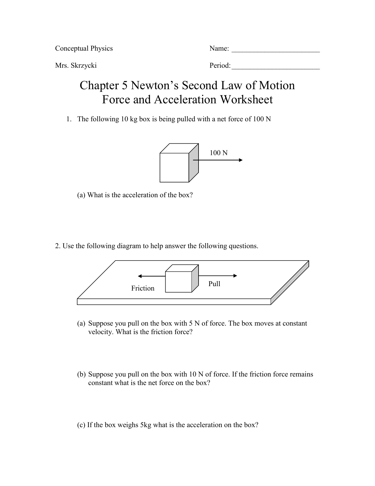 Conceptual Physics Net Force Worksheet Answers