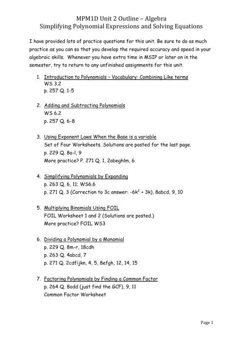 small resolution of MPM1D Unit 2 Outline – Algebra Simplifying Polynomial