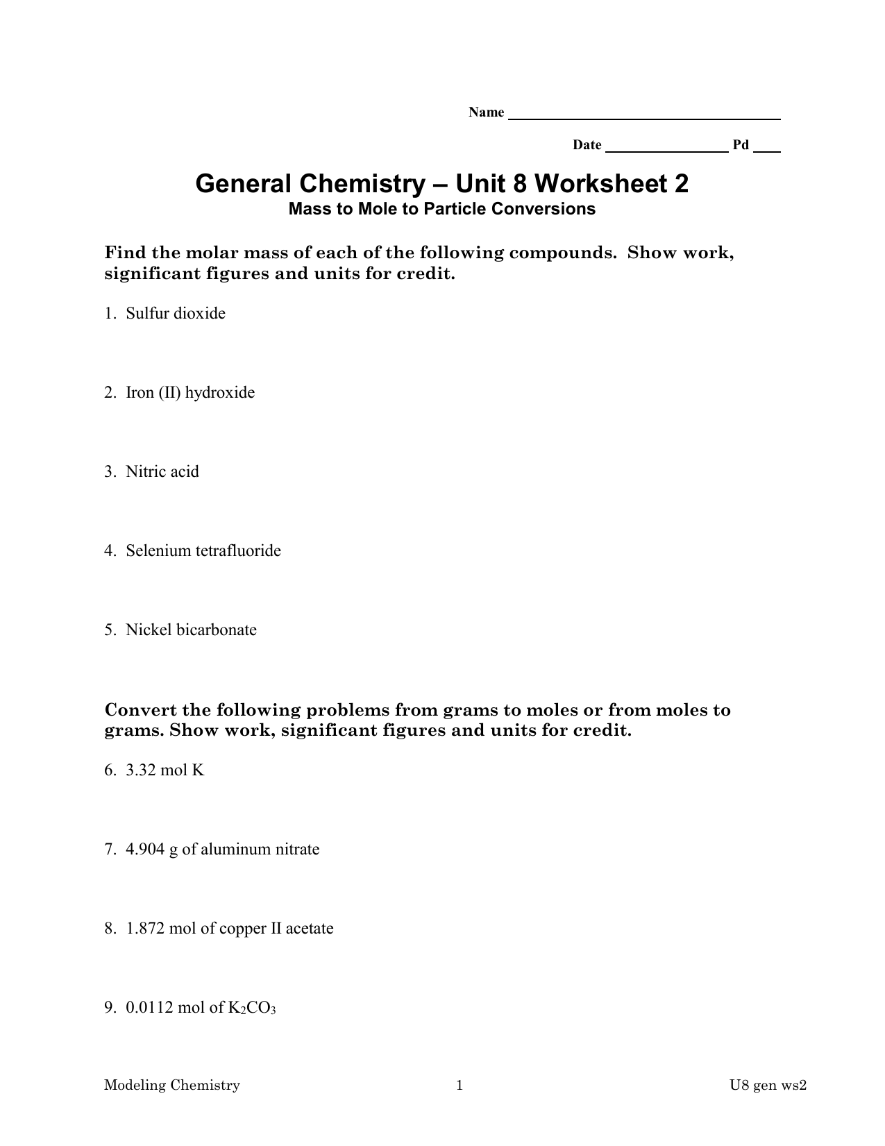 Moles Mass And Particles Worksheet
