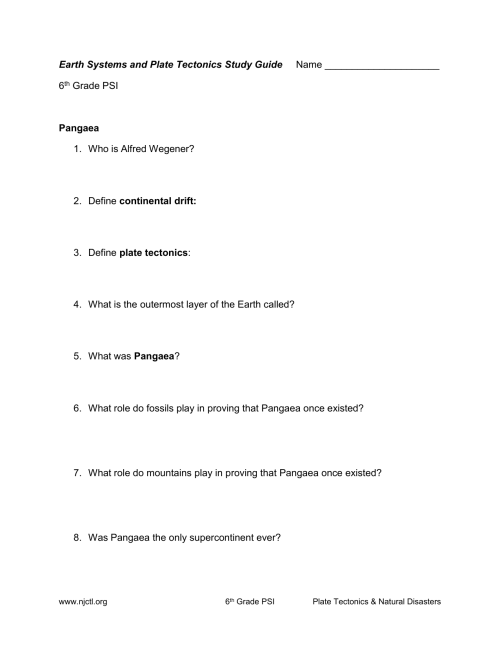 small resolution of Earth Systems and Plate Tectonics Study Guide Name 6th Grade