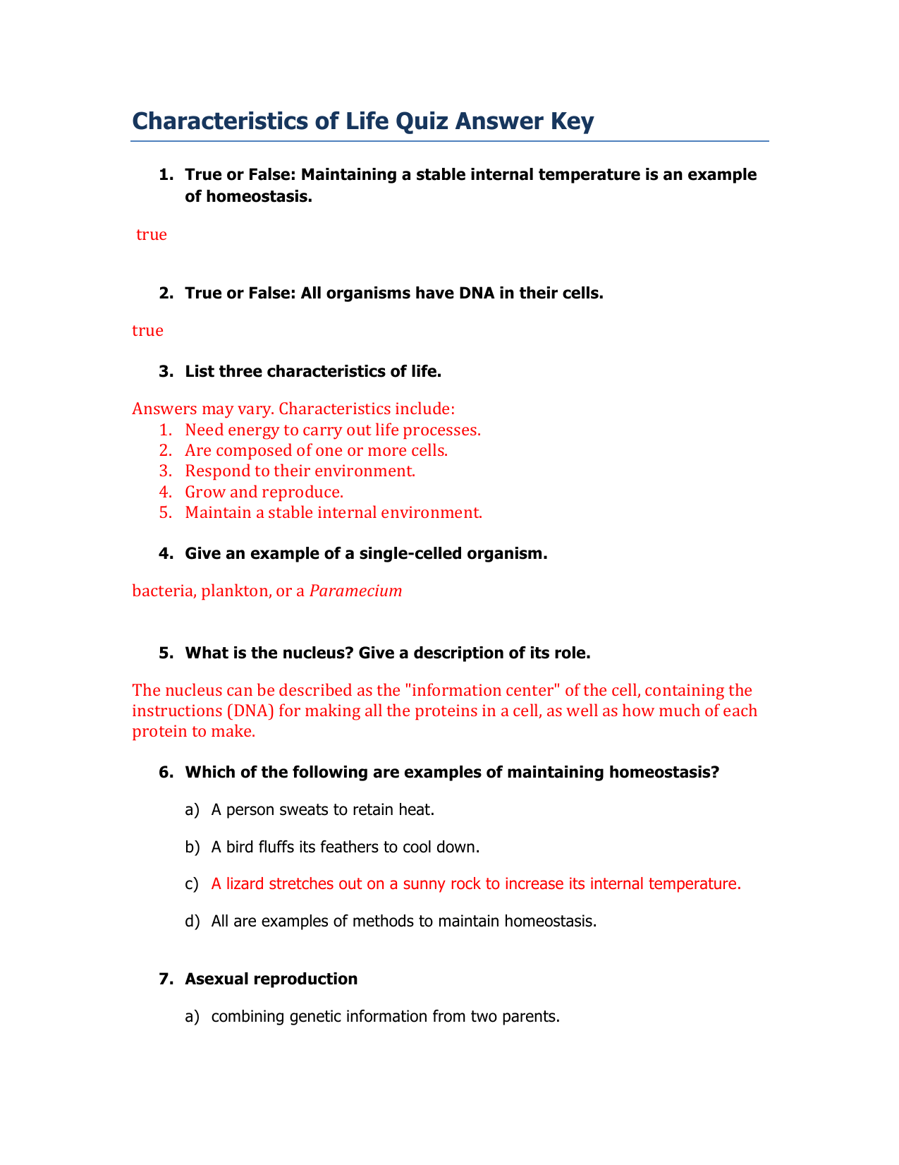 Characteristics Of Living Things Worksheet Answers