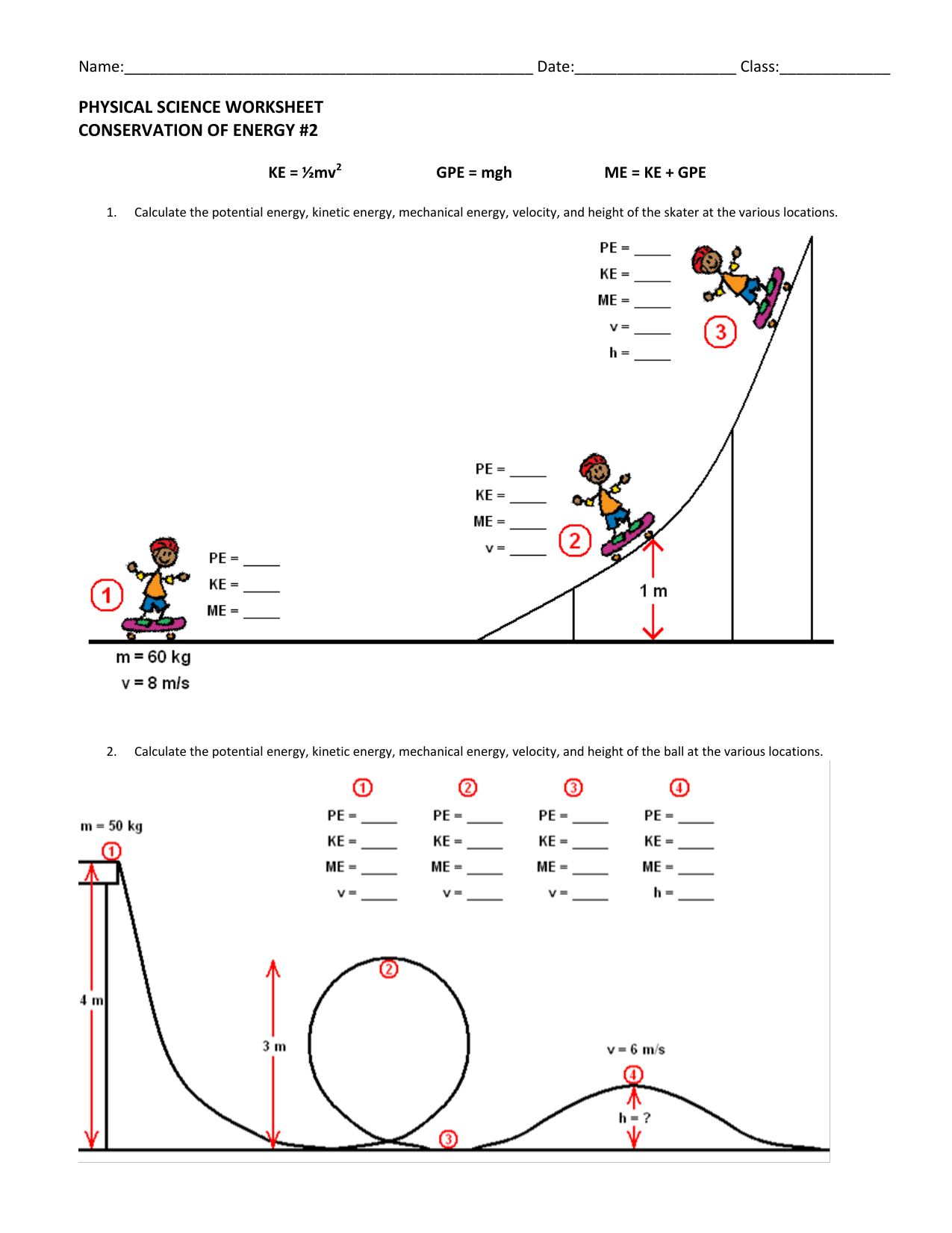 Conservation Of Energy Worksheet