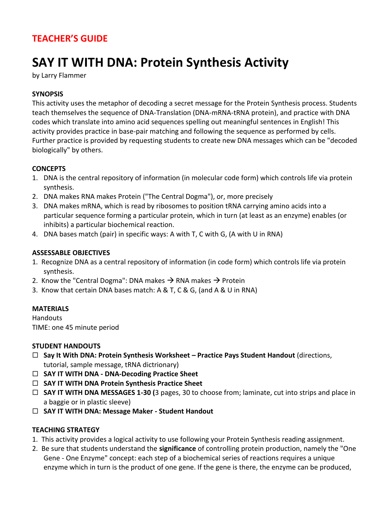 Say It With Dna Protein Synthesis Worksheet Answers