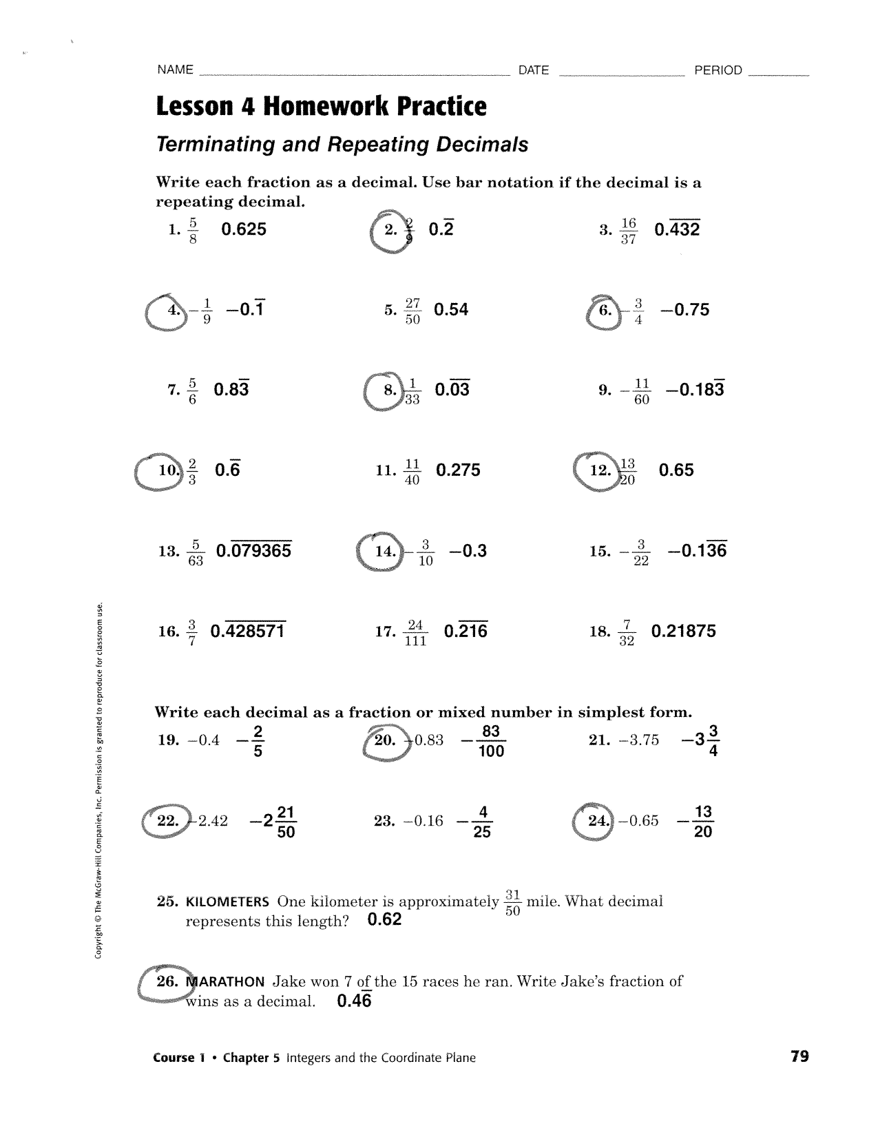 Lesson 1 Homework Practice Integers And Graphing Answers
