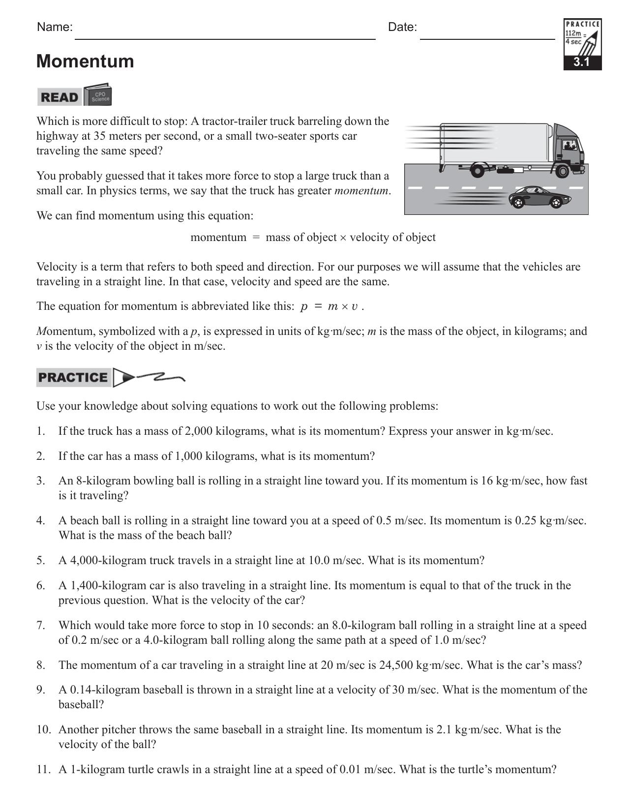 Impulse And Momentum Worksheet Answers