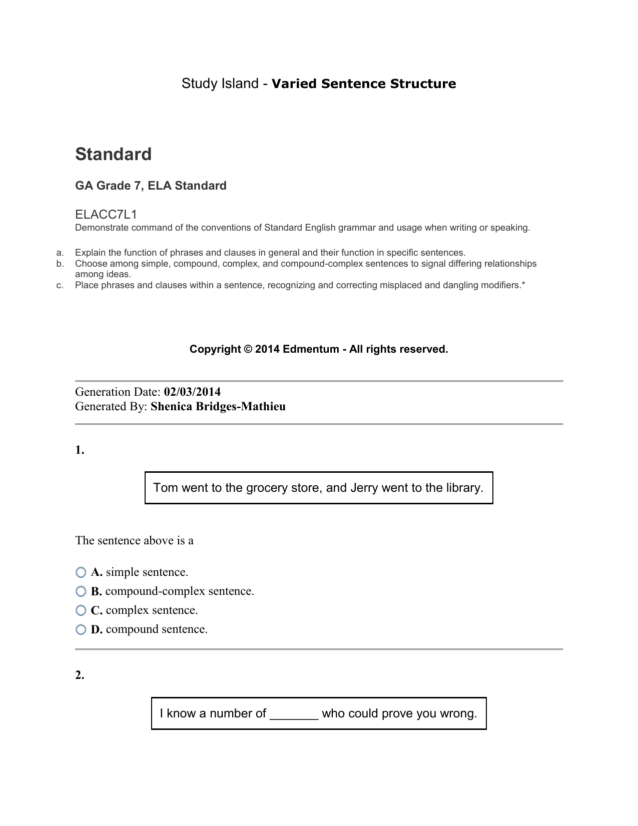 hight resolution of Varied Sentence Structure Activities with answer key