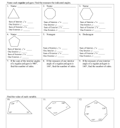 Sum Of Interior Angles Of A Polygon Worksheet [ 1651 x 1275 Pixel ]