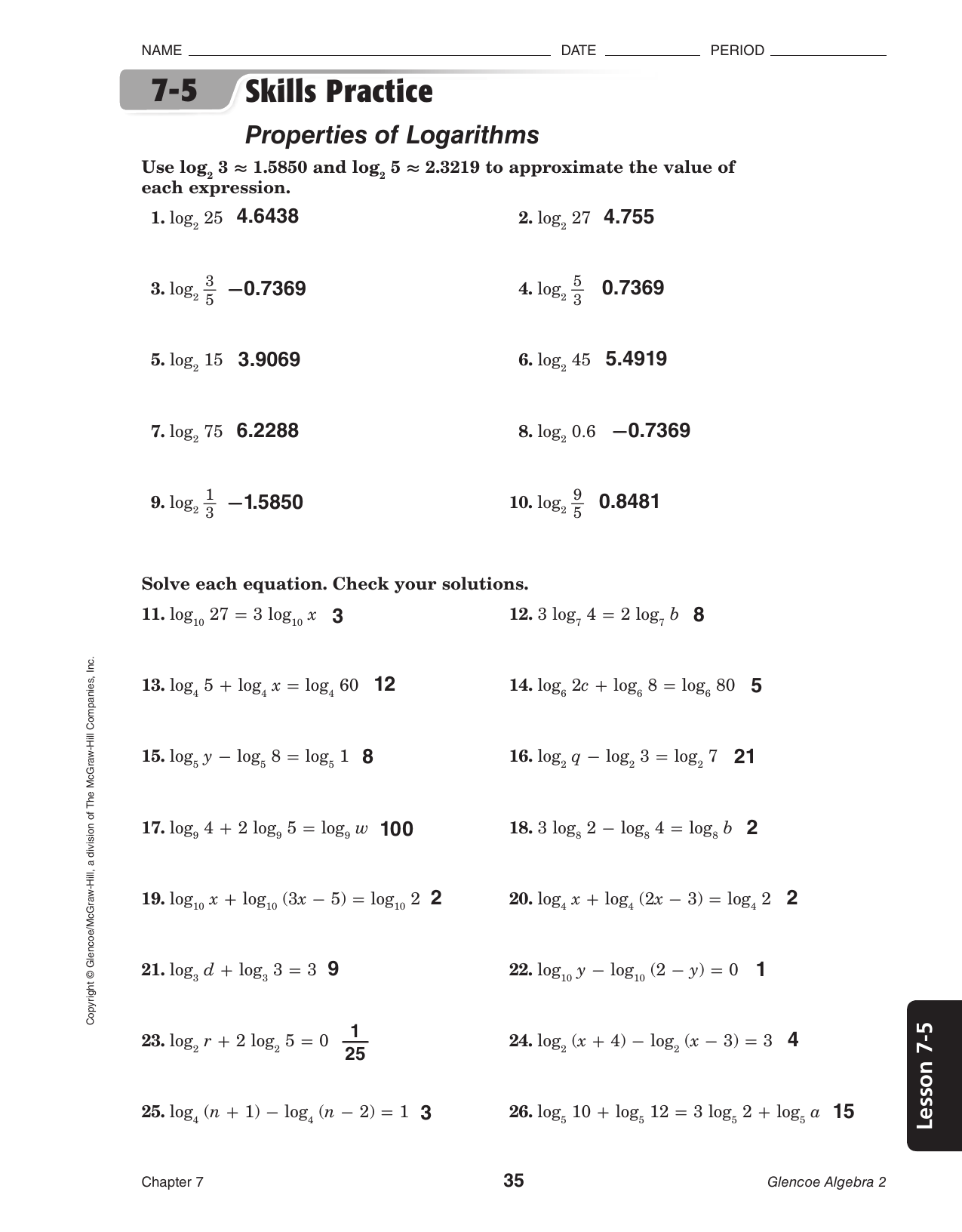 1 3 Skills Practice Solving Equations Glencoe Algebra 2