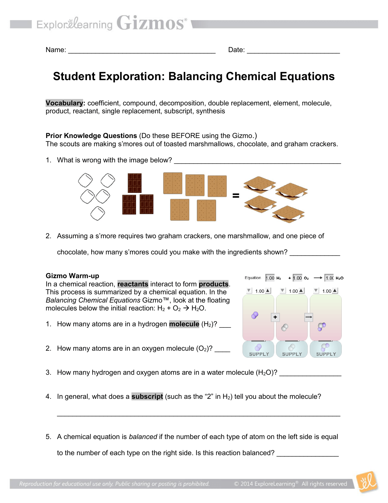 Gizmo Balancing Chemical Equations Answer Key