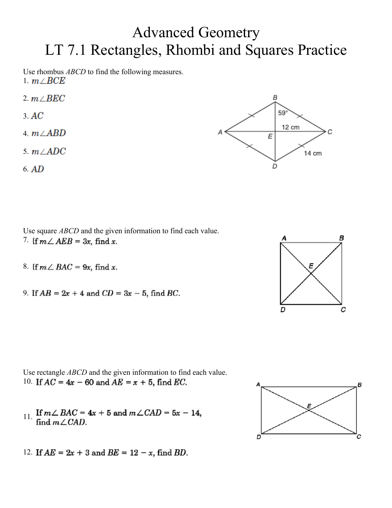 hight resolution of Squares And Rhombi Worksheet - Worksheet List