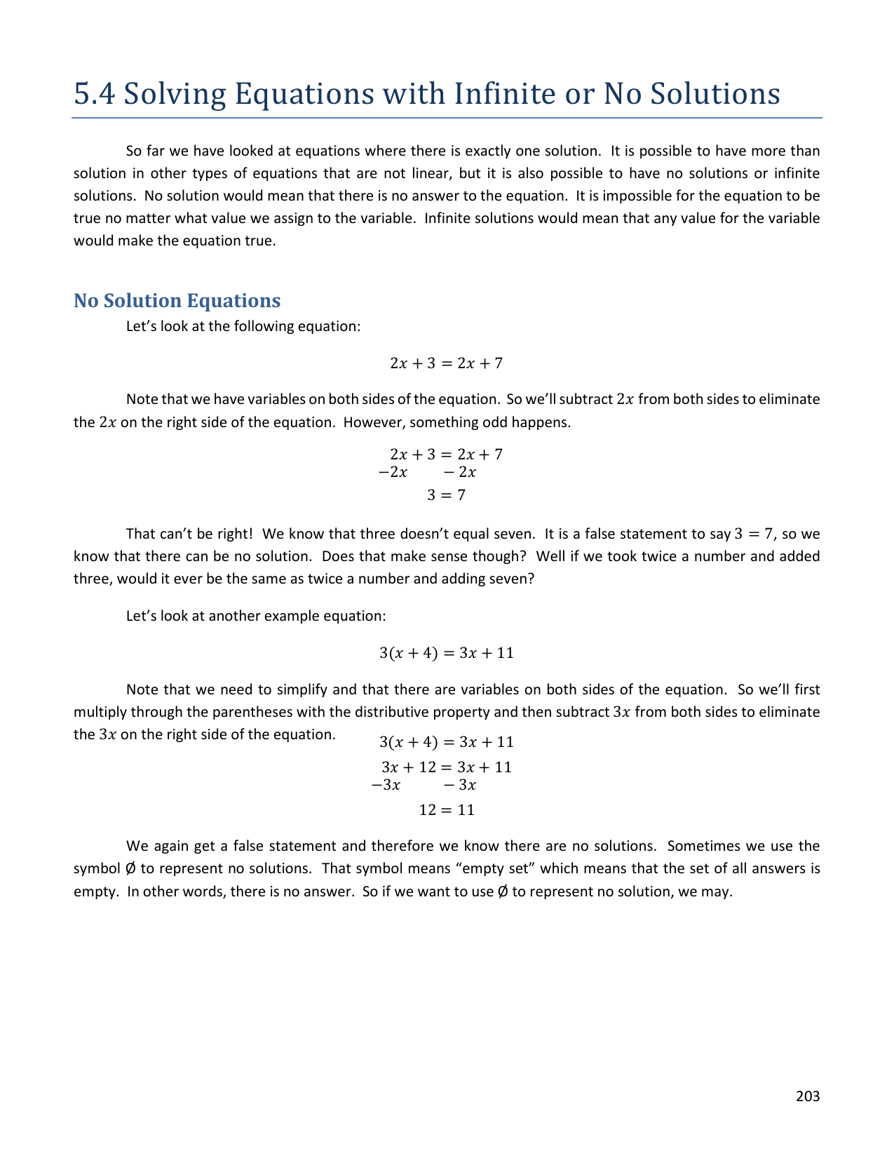 Equations With Variables On Both Sides That Have No