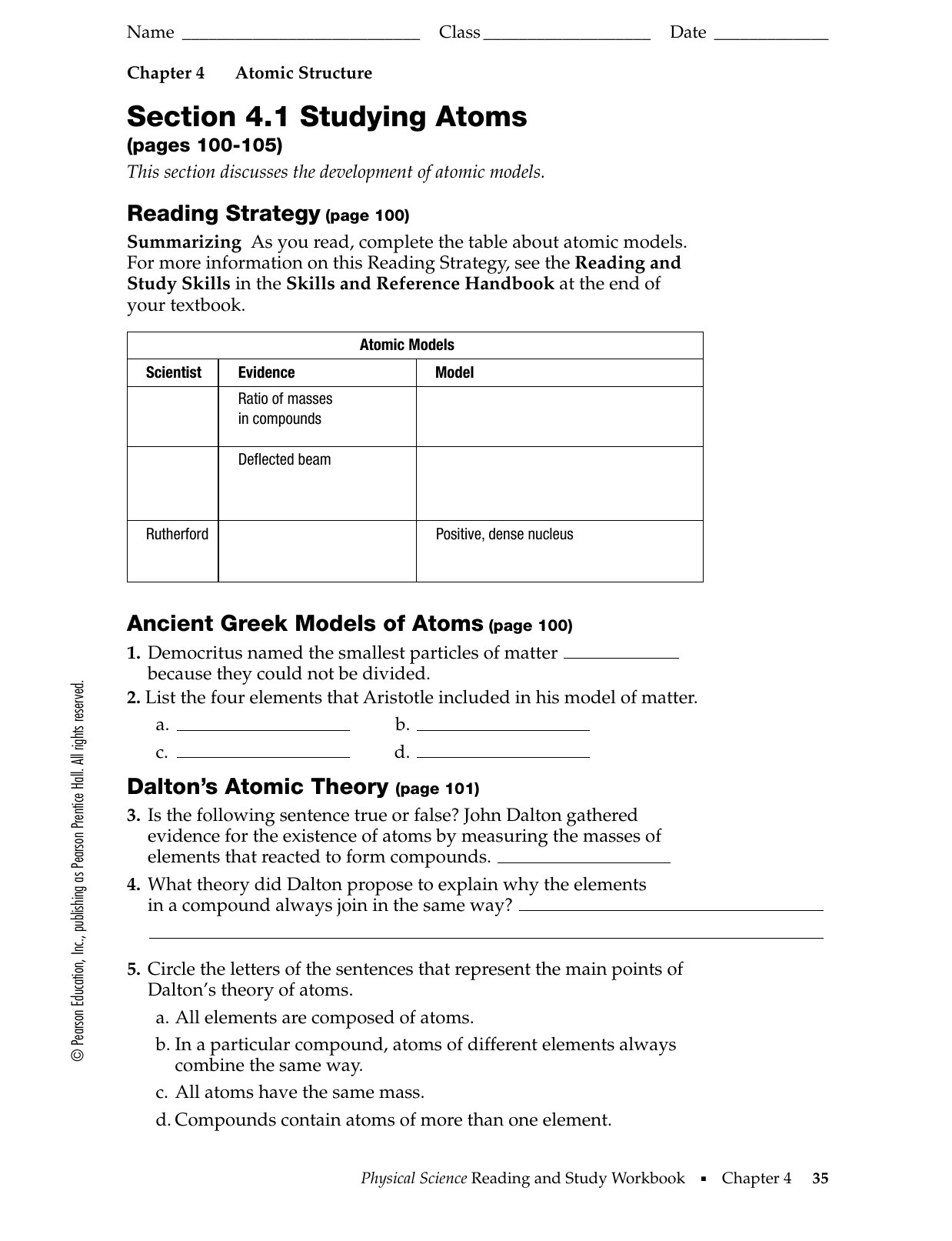 Development Of The Atomic Theory Worksheet