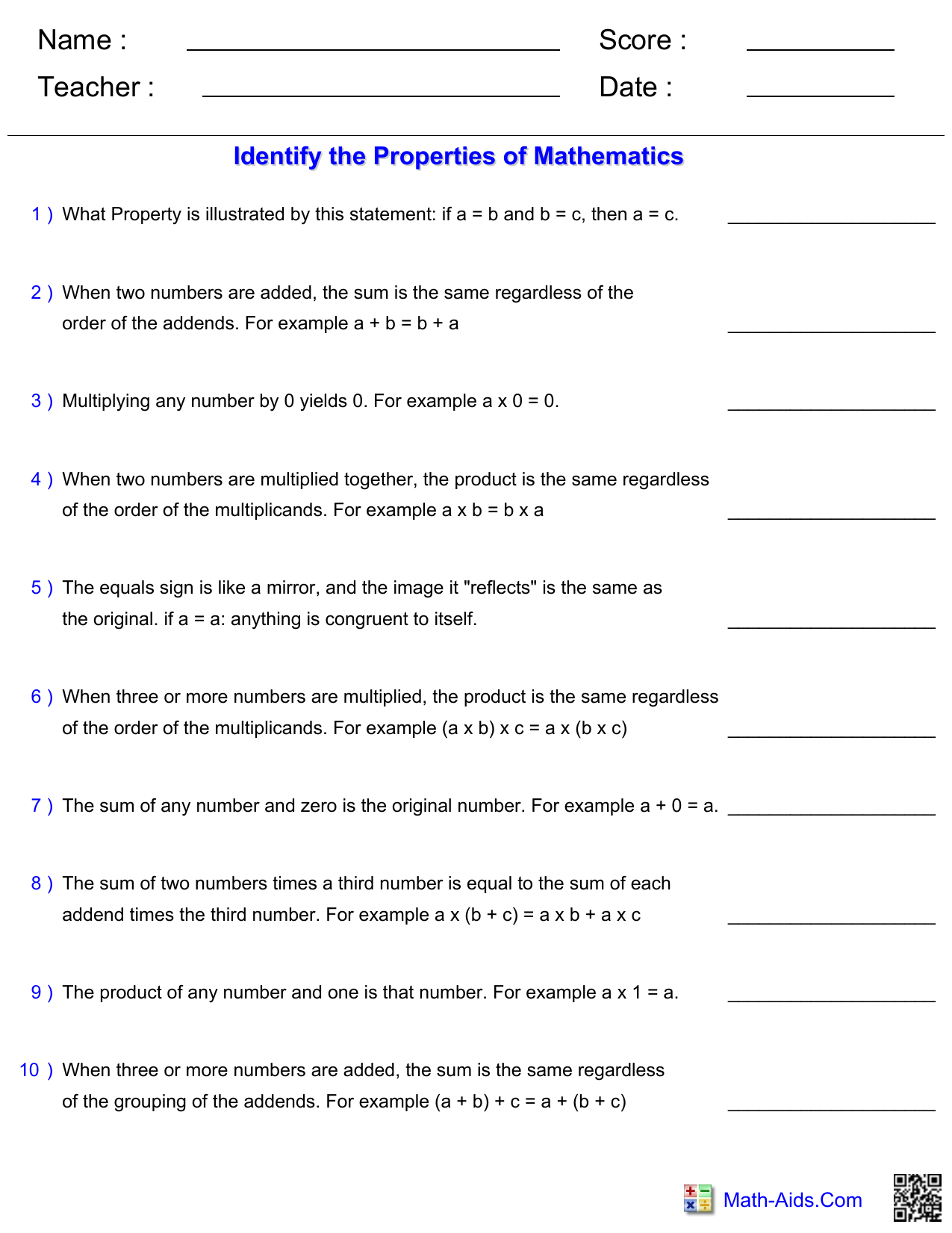 hight resolution of Property Worksheet and Answer Key
