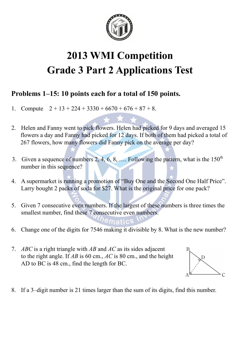 medium resolution of 2013 WMI Grade 3 Part 2 Questions