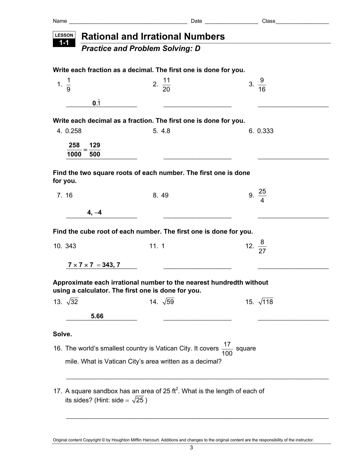 Rational And Irrational Numbers Worksheet With Answers