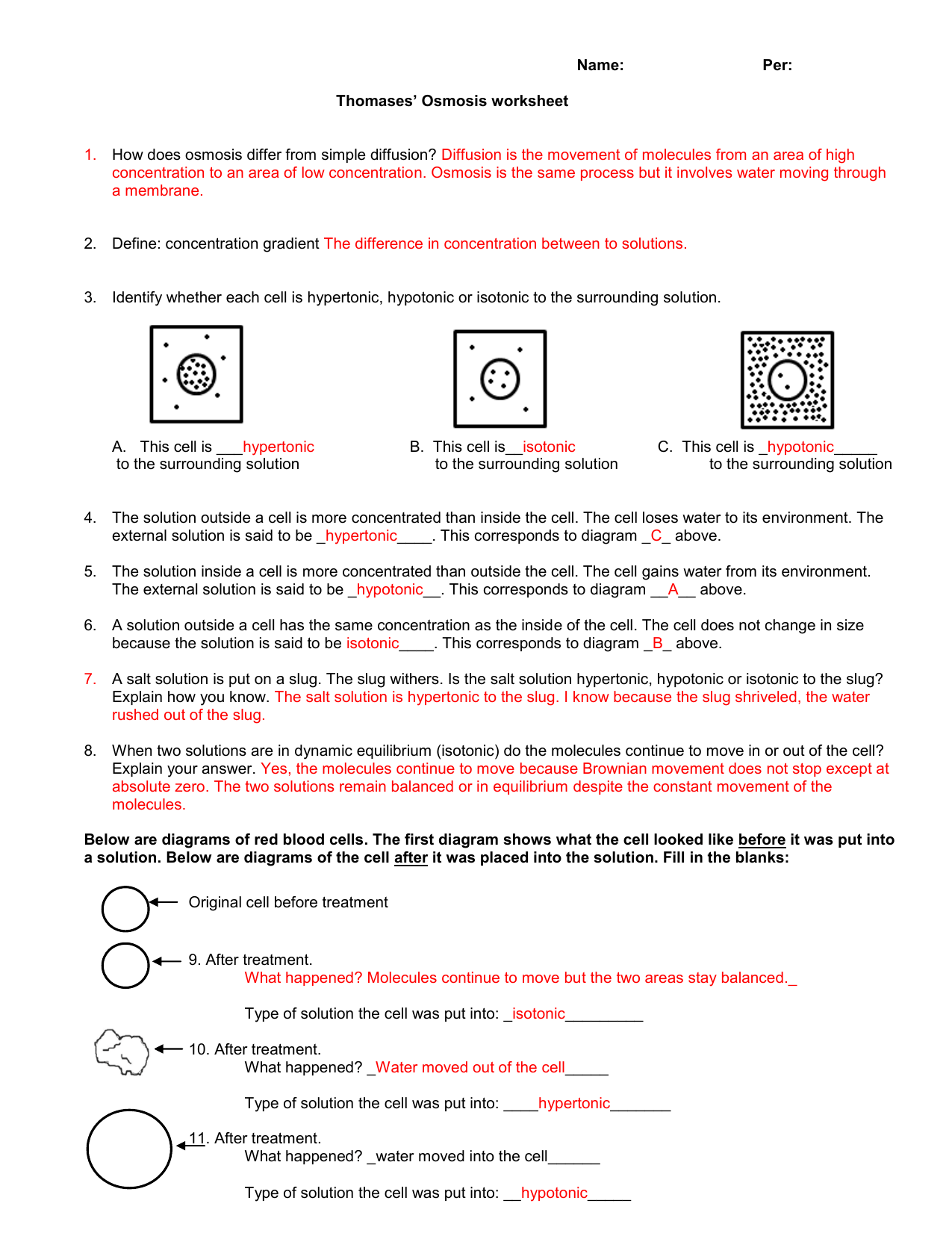Tonicity And Osmosis Worksheet