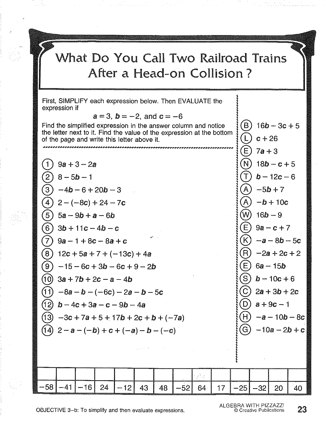Creative Publications Math Worksheet Answers