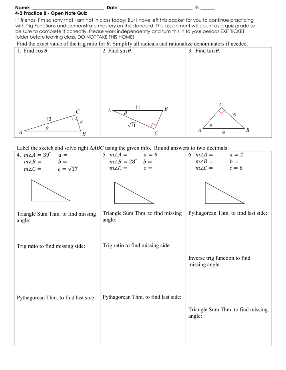 medium resolution of Practice Worksheet: Right Triangle Trigonometry Find the exact