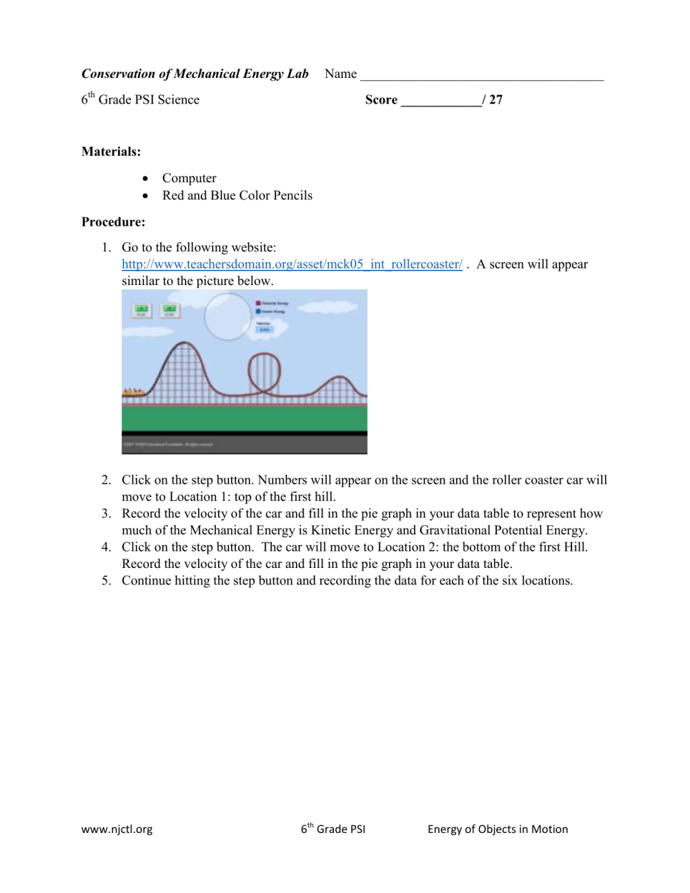 medium resolution of Conservation of Mechanical Energy Lab Name 6 Grade PSI Science