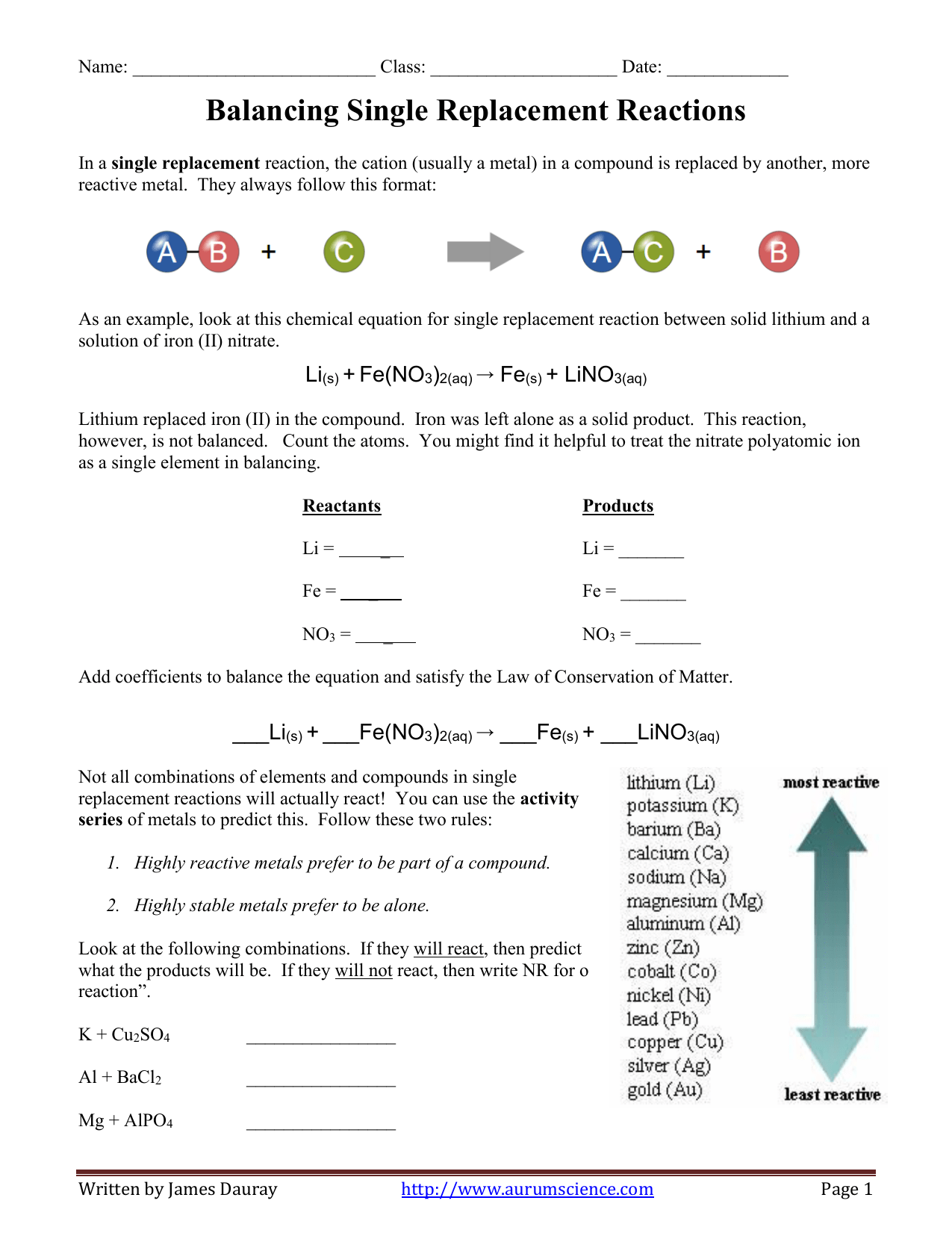 Balancing Equations For Single Replacement Reactions