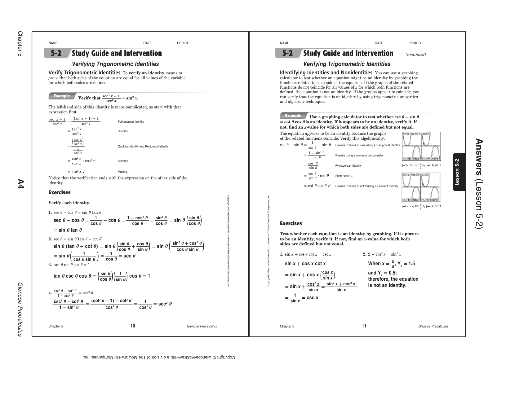 5 3 Solving Trig Equations Practice Worksheet 2