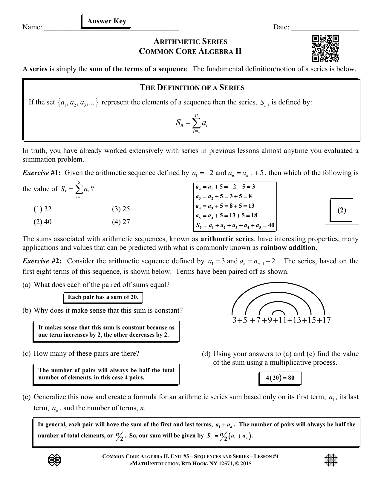 Arithmetic Series Worksheet Answers With Work