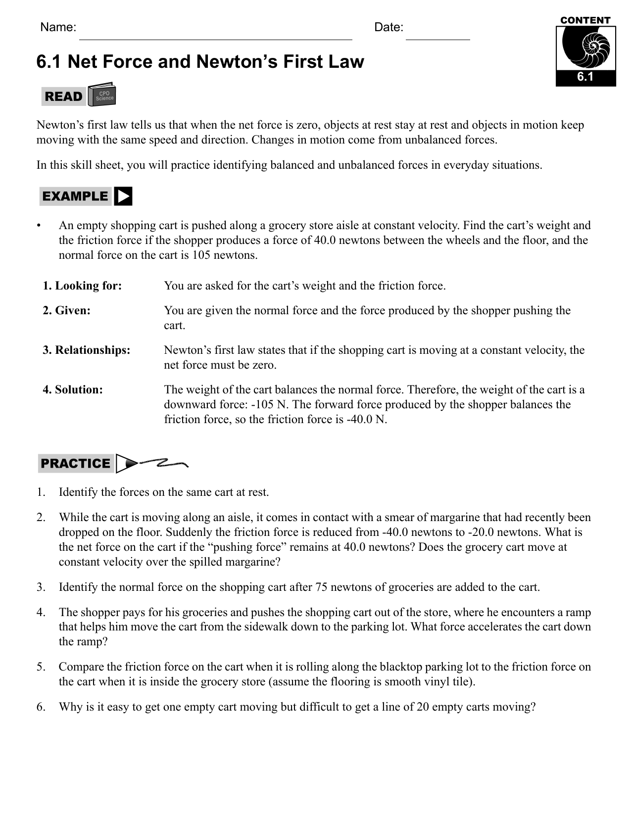 Newtons Laws Worksheet Answers