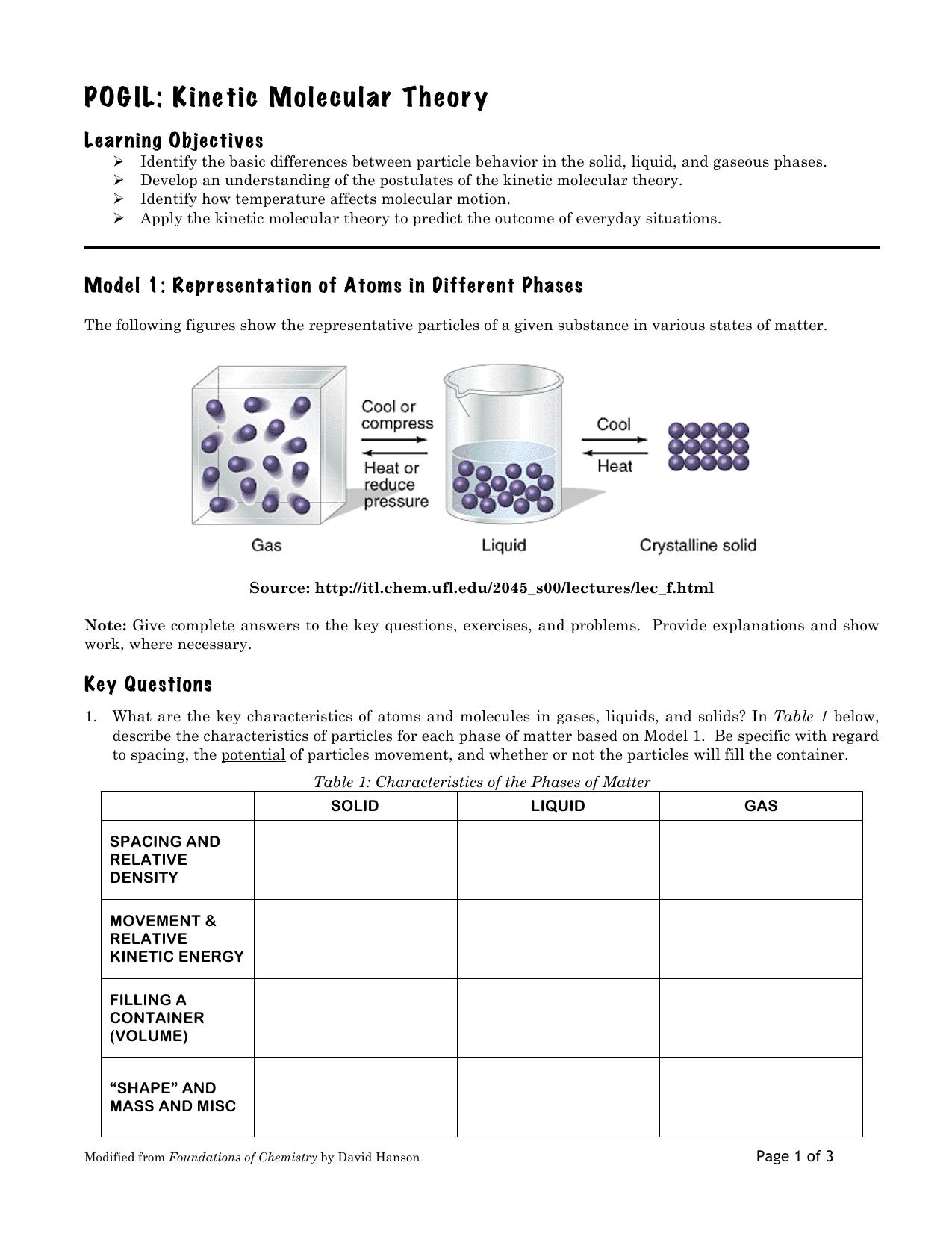 Kinetic Molecular Theory Worksheet Doc