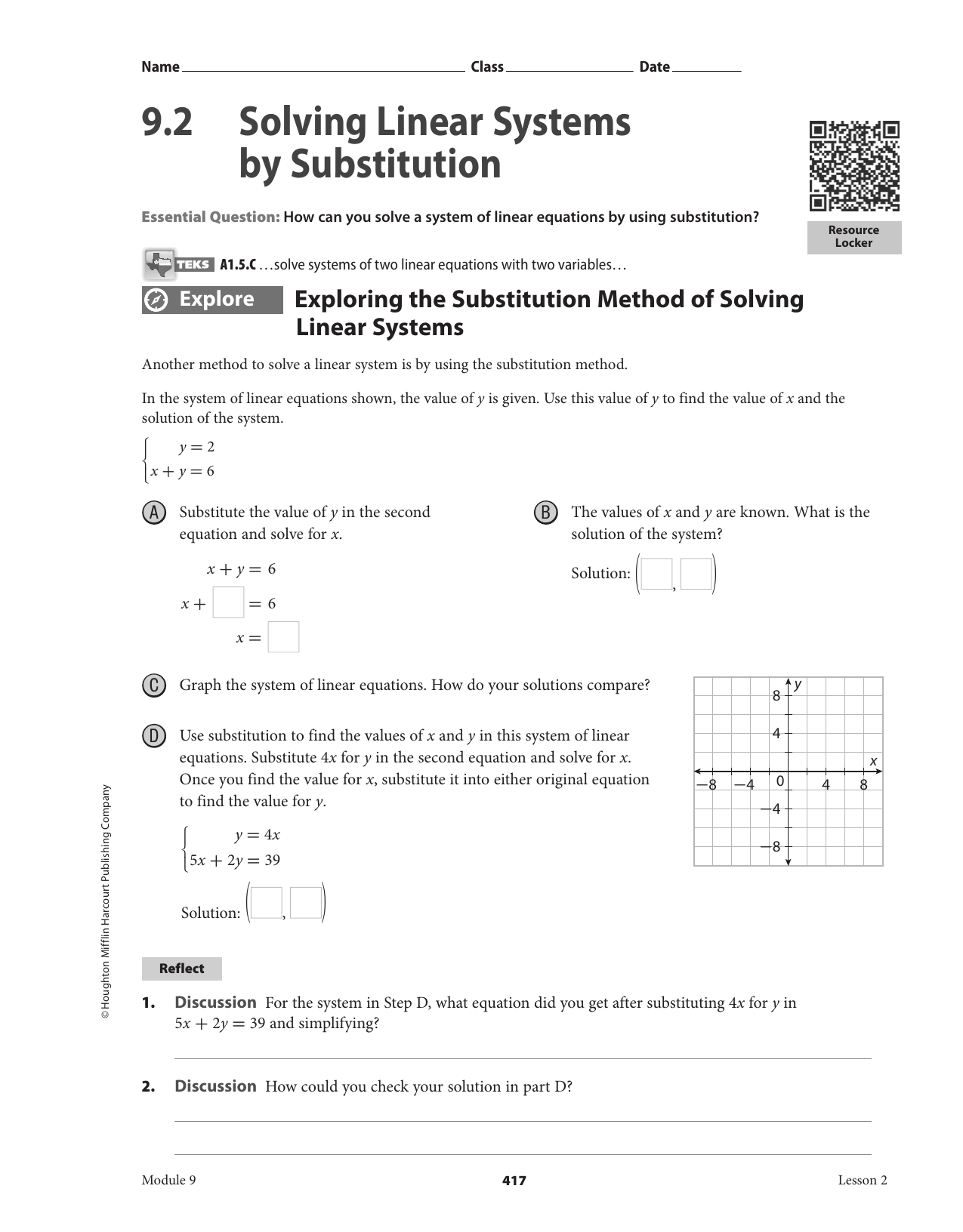 Solving Linear Systems By Substitution Worksheet 9 2