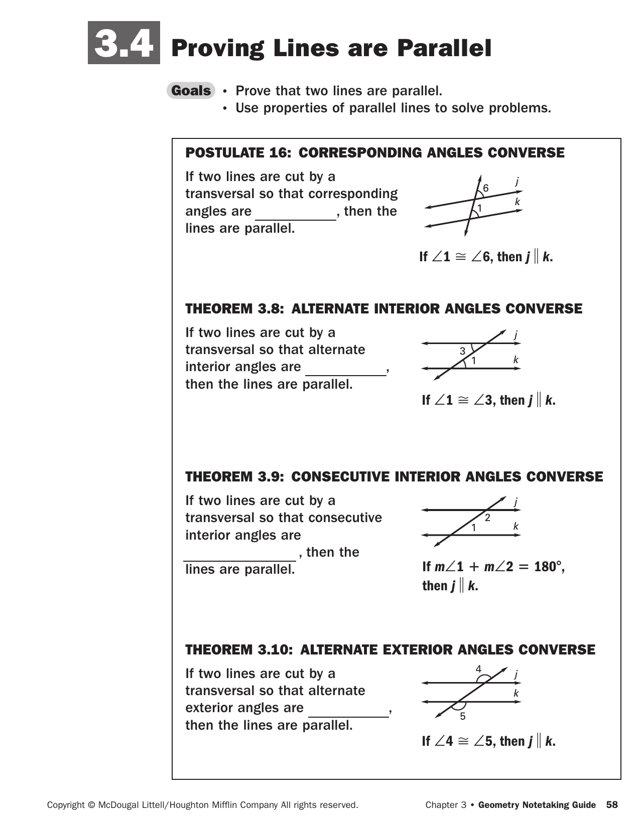 Alternate Interior Angles Converse Theorem