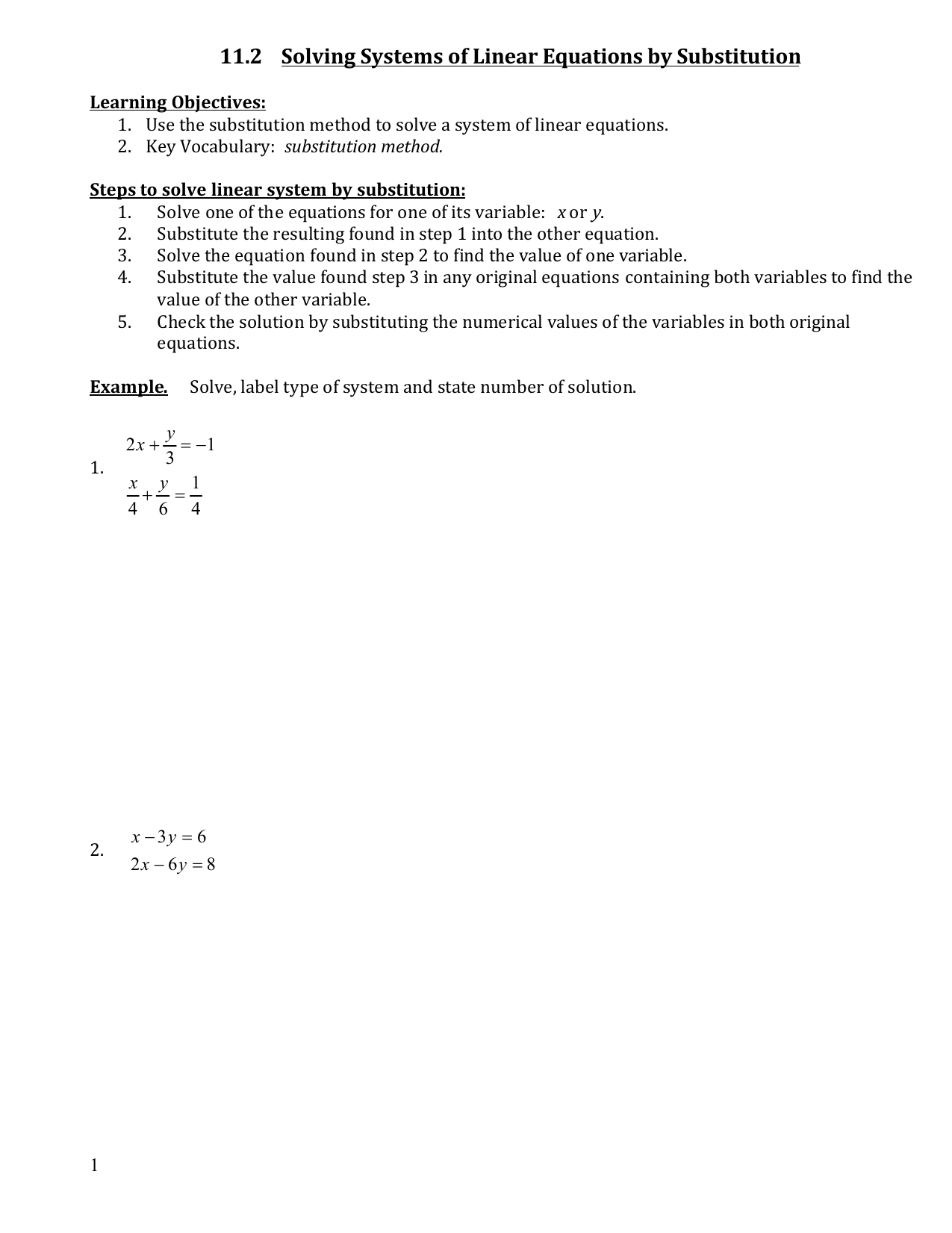 62 Solving Systems By Substitution Worksheet Answers