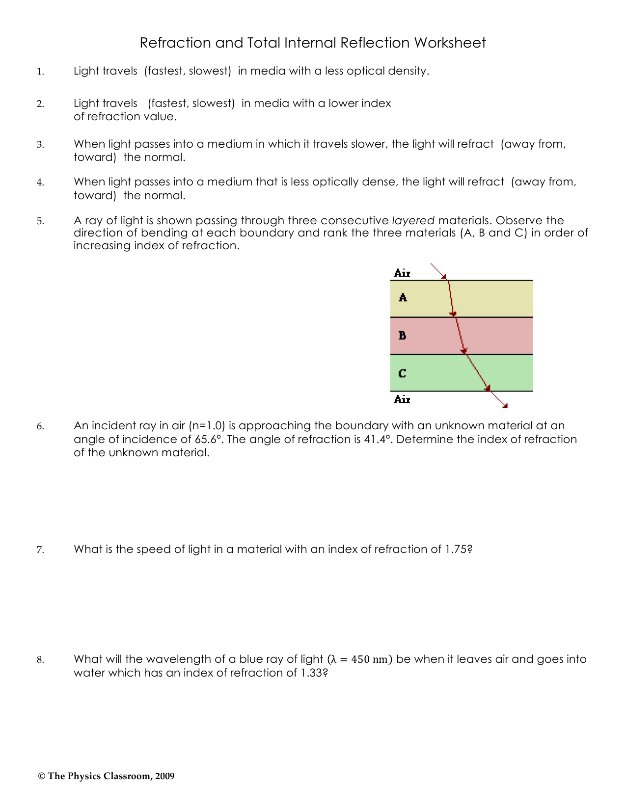Reflection And Refraction Worksheet