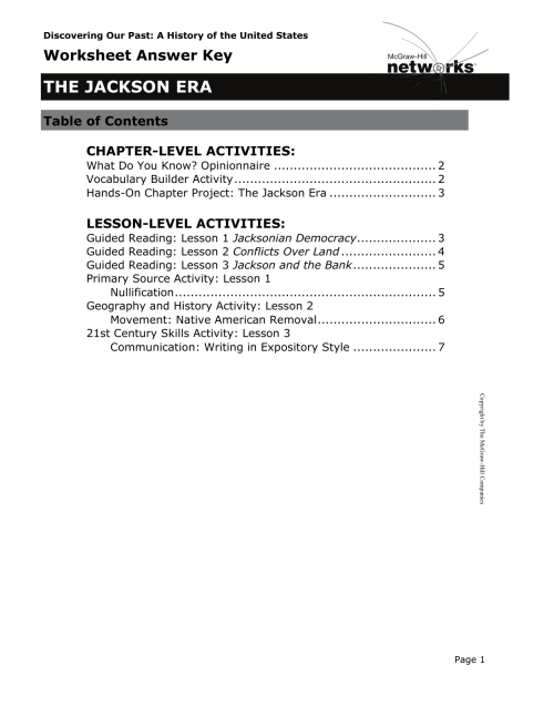 small resolution of Worksheet Answer Key THE JACKSON ERA