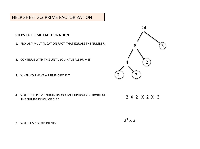 hight resolution of HELP SHEET 3.3 PRIME FACTORIZATION 24 3 4 2 2 X 2 X