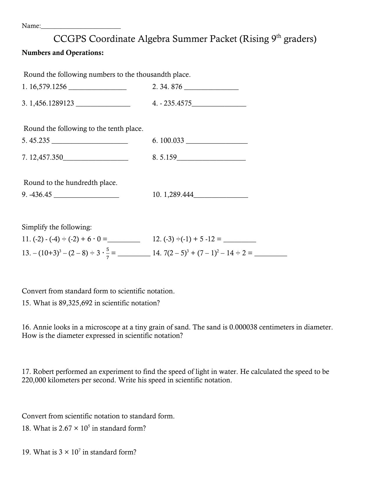hight resolution of CCGPS Coordinate Algebra Summer Packet (Rising 9th graders)