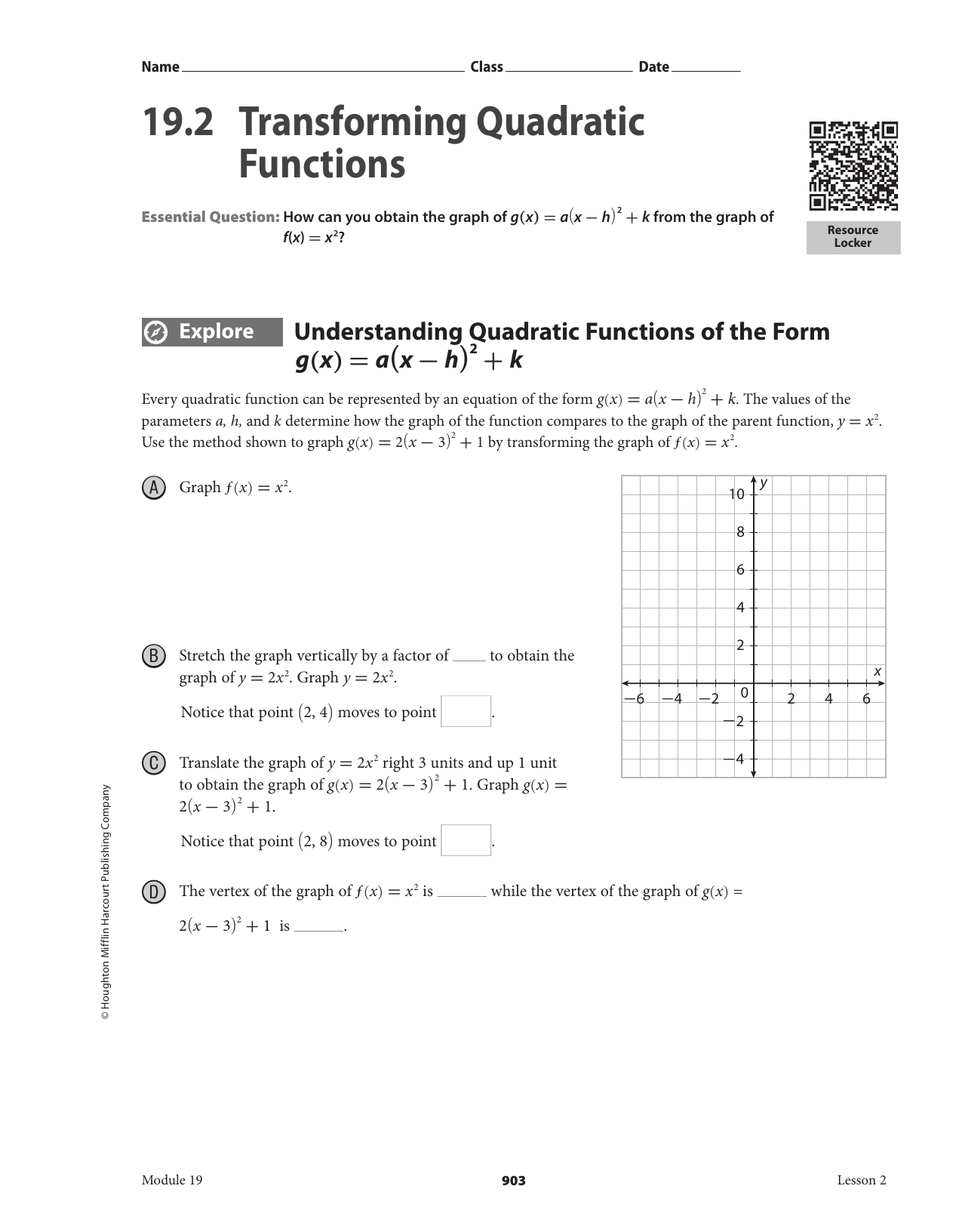 Transformations Of Quadratic Functions Worksheet