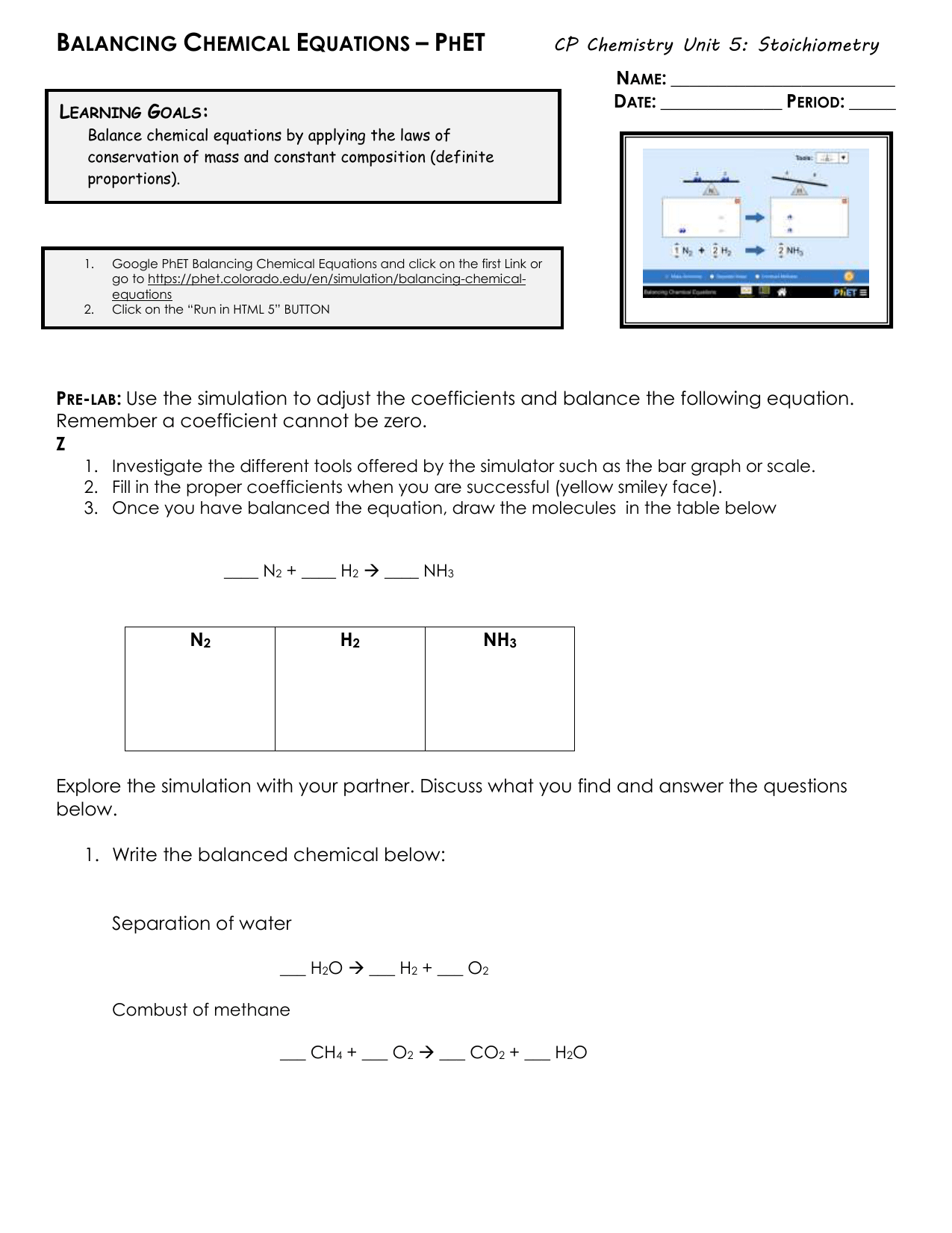 Phet Interactive Simulations Balancing Chemical Equations