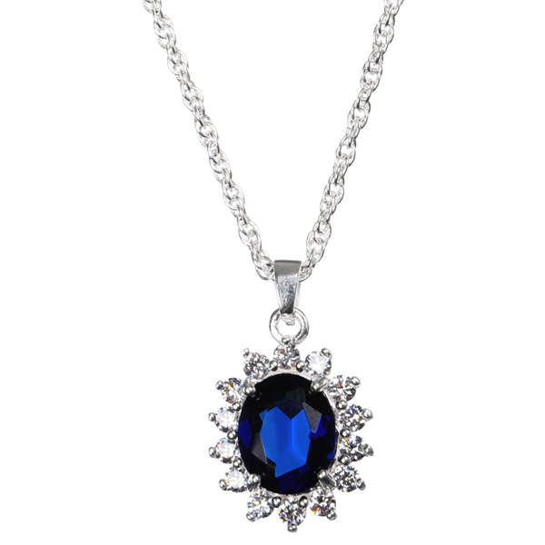 Silver Plated Pendant Necklace With Sapphire Effect Centre