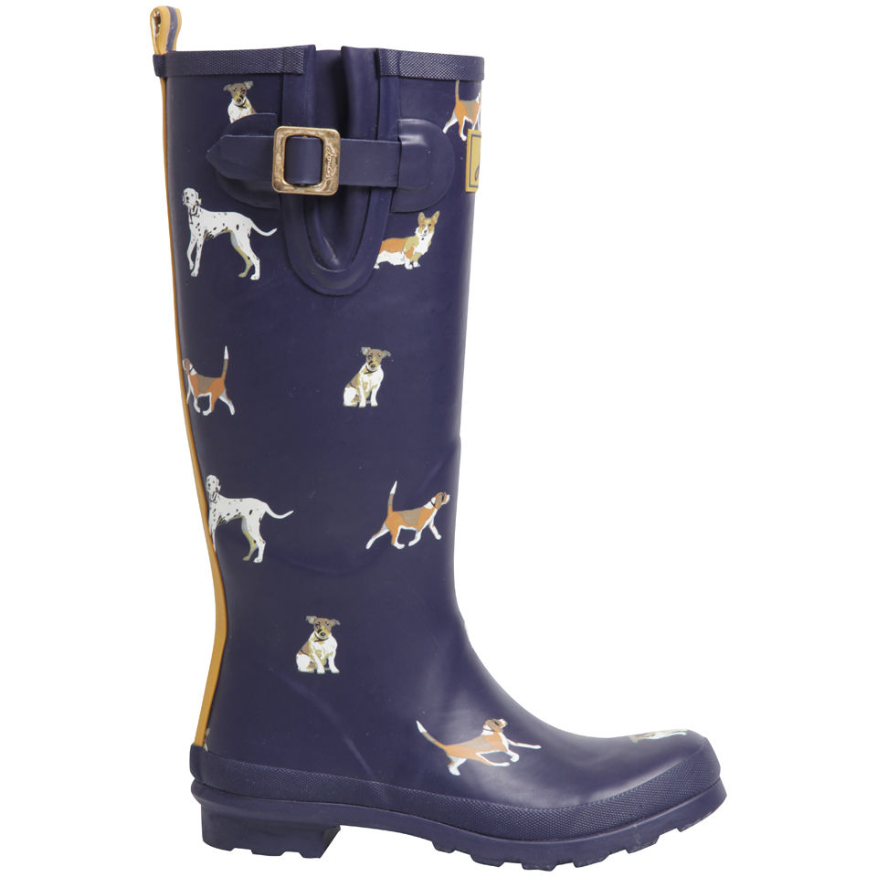 Joules Womens Welly Print Wellies  Navy Dog Womens Footwear  TheHutcom