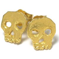 Daisy Knights Skull Stud Earrings - Gold Plated