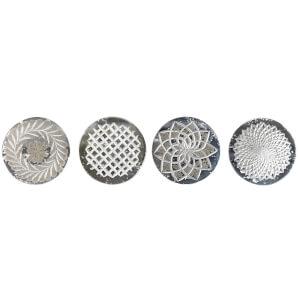 Nkuku Avani Etched Glass Coasters - Antique Silver (Set of 4)