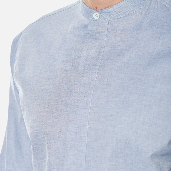 PS By Paul Smith Mens Grandad Collar Shirt Blue Free