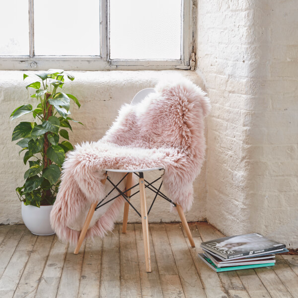 cowhide office chair uk patio furniture rocking cushions royal dream large sheepskin rug - heavenly pink traditional gifts | thehut.com