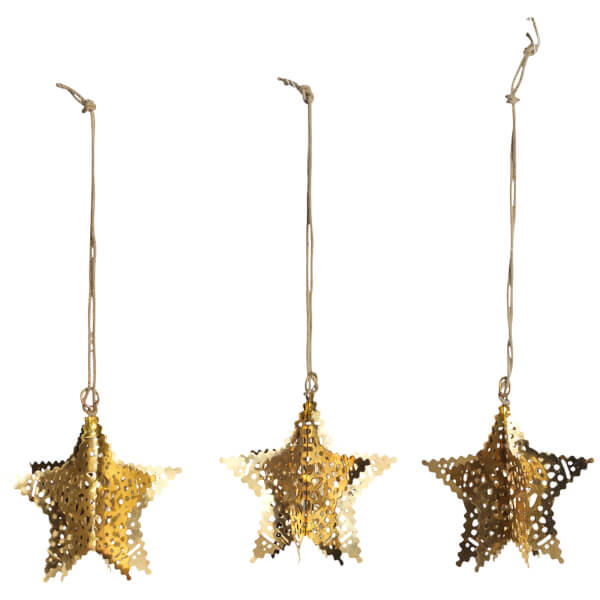Nkuku Sankari Star Decorations - Brass