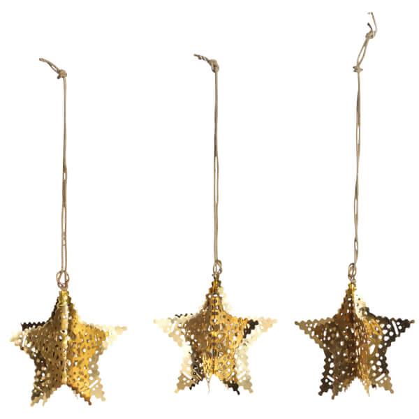 Nkuku Sankari Star Decorations - Brass