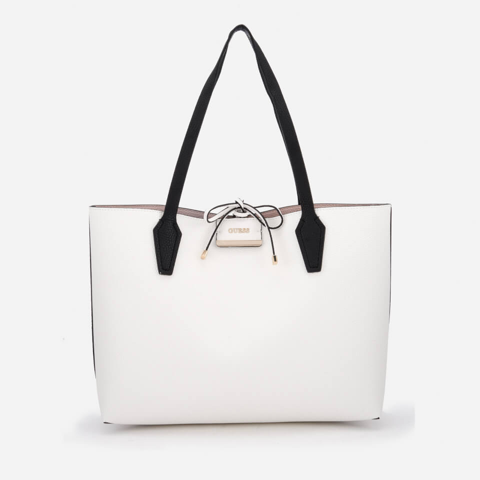 Guess Womens Bobbi Inside Out Tote Bag White MultiTaupe